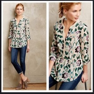 Maeve Anthropologie Women Shirt Abella Pintuck